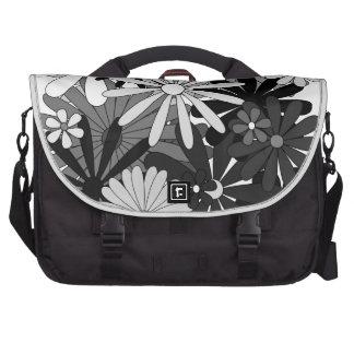 Le gris blanc noir fleurit le jour de mère floral sacoche pour ordinateur portable
