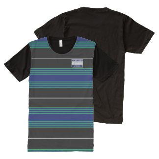 Le gris de vert bleu raye le T-shirt moderne de