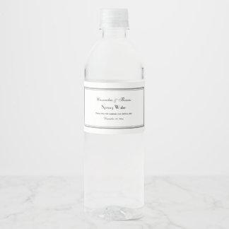 Le gris élégant a encadré l'étiquette de bouteille étiquette pour bouteilles d'eau