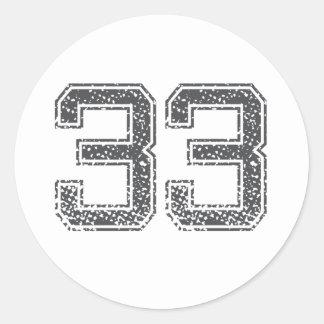 Le gris folâtre le Jersey #33 Sticker Rond