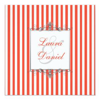 Le gris orange, blanc, argenté barre l'invitation carton d'invitation  13,33 cm