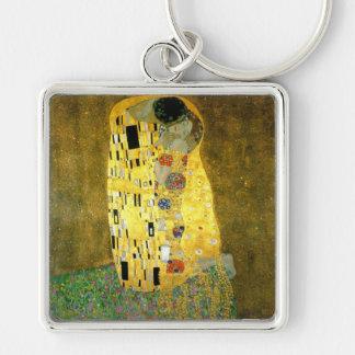 Le ~ Gustav Klimt de baiser Porte-clé Carré Argenté