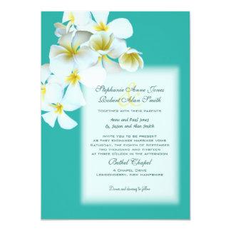 Le Hawaïen blanc fleurit l'invitation bleu de Carton D'invitation 12,7 Cm X 17,78 Cm