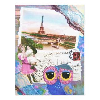 Le hibou de Chouette va à Paris Cartes Postales