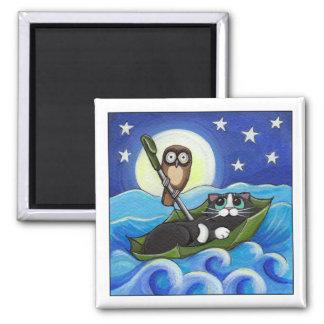 Le hibou et l'art lunatique de chat du minou | aimant
