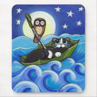 Le hibou et l'art lunatique de chat du minou   tapis de souris