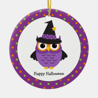 Le hibou mignon de Halloween badine l'ornement Ornement Rond En Céramique