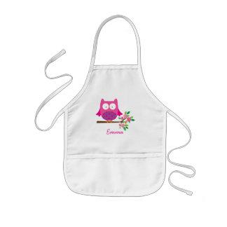 Le hibou mignon rose personnalisé badine le tablier enfant
