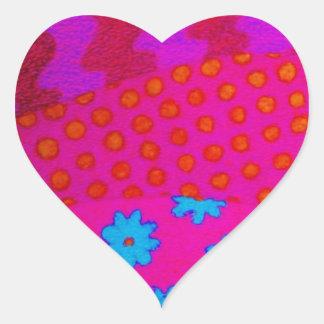 Le HIPPIE - art abstrait vibrant coloré frais Sticker Cœur