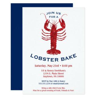 Le homard font le dîner cuire au four de fruits de carton d'invitation  12,7 cm x 17,78 cm