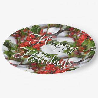 Le houx de vacances de Noël laisse aux baies Assiettes En Papier