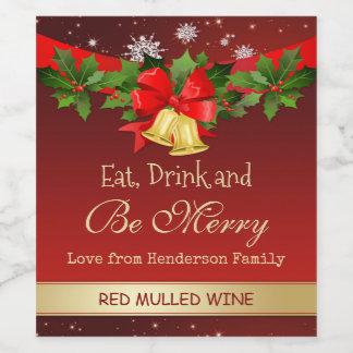 Le houx, les cloches d'or et le Noël de flocons de Étiquette Pour Bouteilles De Vin