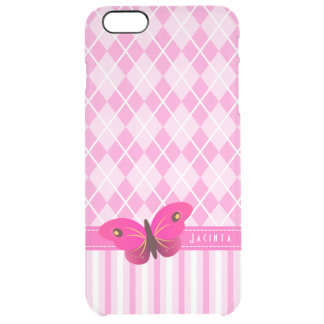 Le Jacquard assez rose barre l'iPhone de papillon Coque iPhone 6 Plus