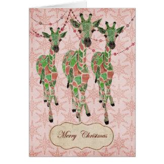 Le jade vintage rougissent carte de Noël de girafe