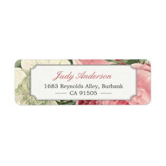Le jardin botanique vintage fleurit chic élégant étiquettes d'adresse retour