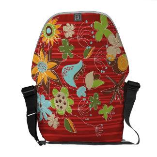 Le jardin floral rouge lunatique fleurit le sac sacoches