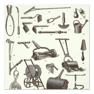 Le jardinier élégant - outils de jardin antiques carton d'invitation  13,33 cm