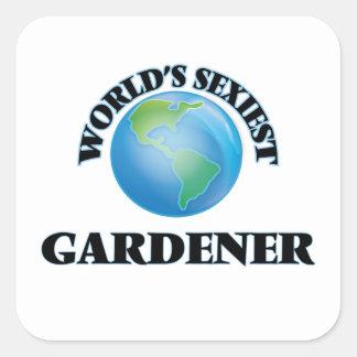 Le jardinier le plus sexy du monde sticker carré