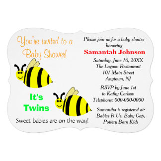 Le jaune de jumeaux gaffent le baby shower de invitation personnalisable