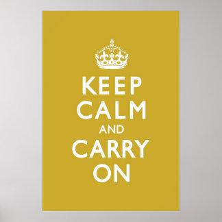 Le jaune de moutarde gardent le calme et continuen posters