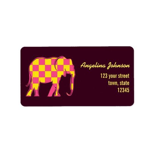 Le jaune d'éléphant rose ajuste chic femelle étiquettes d'adresse
