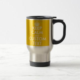 Le jaune fait sur commande gardent le calme et mug de voyage en acier inoxydable