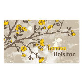 Le jaune vintage fleurit le taupe grunge floral