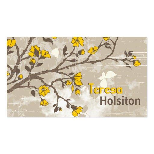 Le jaune vintage fleurit le taupe grunge floral carte de visite