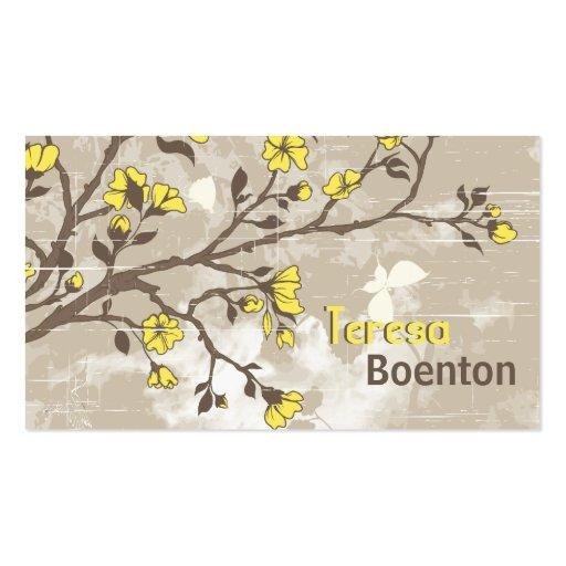 Le jaune vintage fleurit le taupe grunge floral modèle de carte de visite