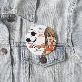 Le jeu aiment une orange du football | de la fille pin's