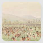 Le jeu de boule indien, c.1832 autocollant carré