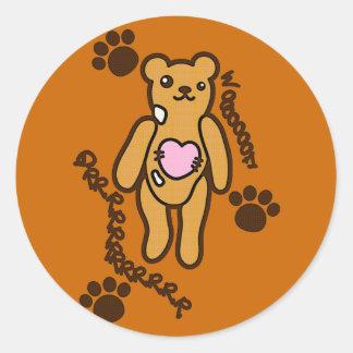 Le jouet bourré de l'ours adhésifs ronds