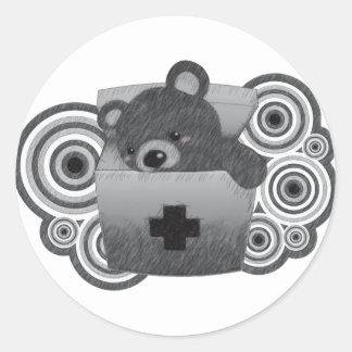 Le jouet bourré de l'ours autocollants ronds