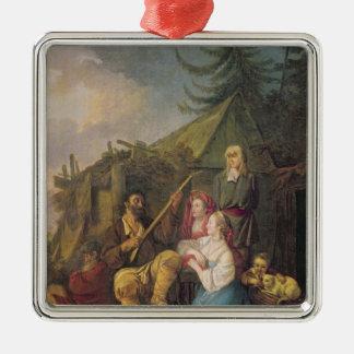 Le joueur de balalaïka, 1764 ornement carré argenté