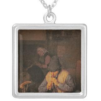 Le joueur de cannelure, XVIIème siècle Pendentif Carré
