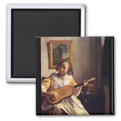 Le joueur de guitare par Johannes Vermeer Magnets Pour Réfrigérateur