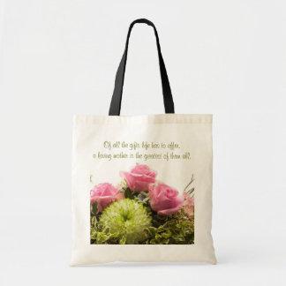 Le jour de mère affectueux floral sac en toile budget