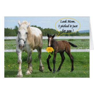 Le jour de mère chevalin carte de vœux