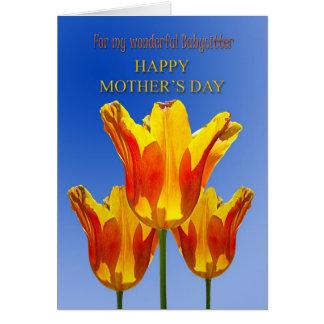 Le jour de mère de babysitter, tulipes cartes