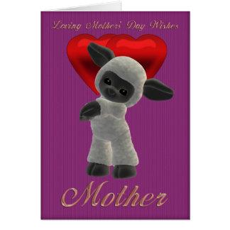 Le jour de mère, enfantant les moutons mignons de carte de vœux