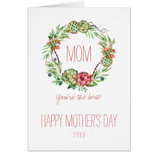 Le jour de mère floral vintage de Succlent   Cartes De Vœux
