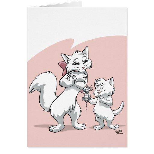 Le jour de mère heureux ! ! Chat et chaton de mama Cartes De Vœux