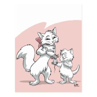 Le jour de mère heureux ! ! Chat et chaton de mama Carte Postale