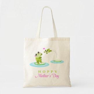 Le jour de mère heureux de houblon de grenouille m sacs de toile
