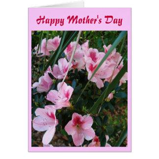 Le jour de mère heureux, fleurs roses carte de vœux