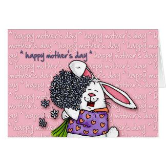 Le jour de mère heureux - lapin carte de vœux