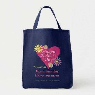 Le jour de mère heureux sac en toile épicerie