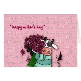 Le jour de mère heureux - vache à fleur carte de vœux