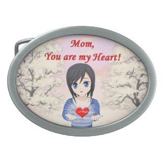 Le jour de mère - maman, vous êtes mon coeur boucles de ceinture ovales