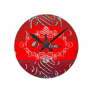 Le jour de mère rouge de typographie de la maman horloge ronde